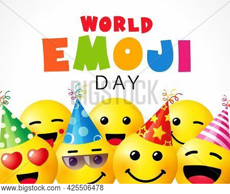 World Emoji Day, Smile Background Template. July 17th, World Emoji Day Text With Cute Emoticon Icon