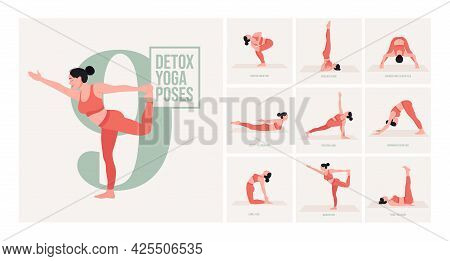 Yoga Poses For Detox. Young Woman Practicing Yoga Pose. Woman Workout Fitness, Aerobic And Exercises