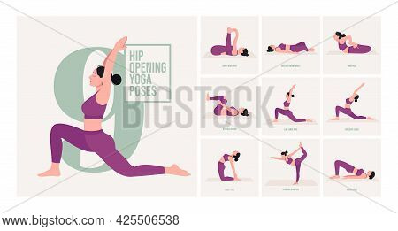 Hip Opening Yoga Poses. Young Woman Practicing Yoga Pose. Woman Workout Fitness, Aerobic And Exercis