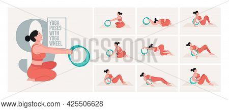 Yoga Wheel Yoga Poses For Bloating. Young Woman Practicing Yoga Pose. Woman Workout Fitness, Aerobic