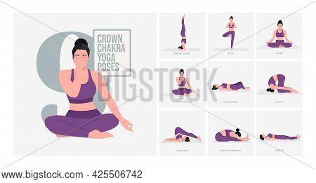 Crown Chakra Yoga Poses. Young Woman Practicing Yoga Pose. Woman Workout Fitness, Aerobic And Exerci