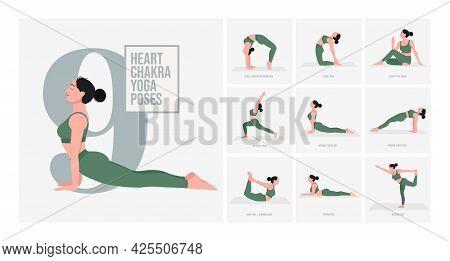 Heart Chakra Yoga Poses. Young Woman Practicing Yoga Pose. Woman Workout Fitness, Aerobic And Exerci