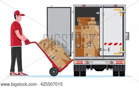 Delivery Van Full Of Cardboard Boxes Isolated On White. Express Delivering Services Commercial Truck