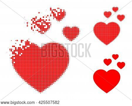 Dissolved Dotted Favorite Hearts Pictogram With Halftone Version. Vector Destruction Effect For Favo