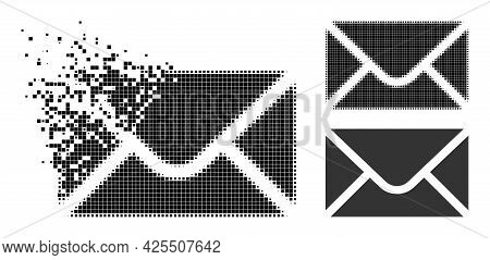 Shredded Pixelated Envelope Icon With Halftone Version. Vector Destruction Effect For Envelope Icon.