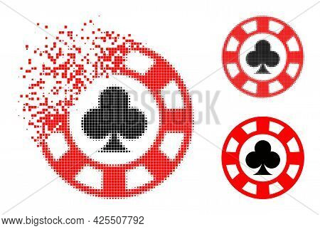 Dissolving Dot Clubs Casino Chip Icon With Halftone Version. Vector Wind Effect For Clubs Casino Chi