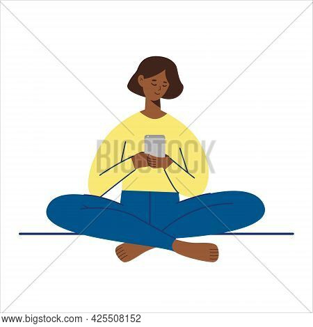 Happy Black Skin Female Character Looking At Her Smartphone And Chatting Isolated On White Backgroun
