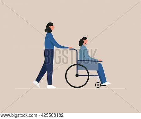 Young Disabled Woman Sitting In A Wheelchair. Care, Assistance. Disability People Daily Life.
