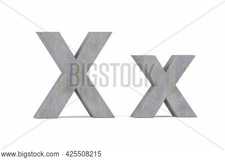 Concrete 3d Letter X - Three Dimensional Uppercase And Lowercase X Covered With Concrete Texture On