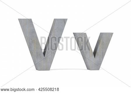 Concrete 3d Letter V - Three Dimensional Uppercase And Lowercase V Covered With Concrete Texture On