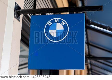 Sète , Ocitanie France  - 06 30 2021 : Bmw Logo Text Blue White And Brand Sign Of Car Dealership Sto