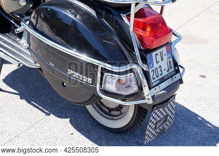 Sète , Ocitanie France  - 06 30 2021 : Vespa Px 125 Rear Motorbike Italian Brand Of Scooter Manufact