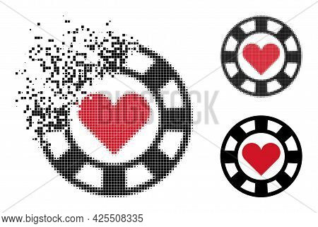 Disappearing Pixelated Hearts Casino Chip Icon With Halftone Version. Vector Destruction Effect For