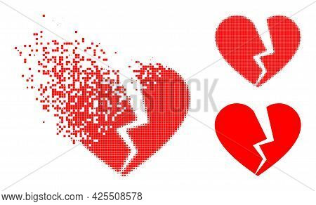 Disappearing Dotted Broken Love Heart Icon With Halftone Version. Vector Destruction Effect For Brok