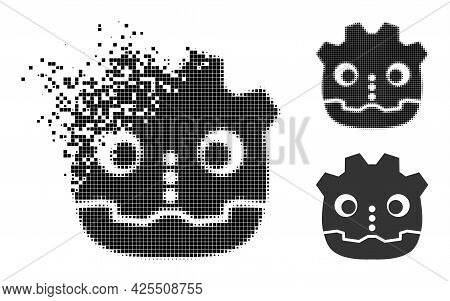 Dissolving Pixelated Robot Head Pictogram With Halftone Version. Vector Wind Effect For Robot Head P