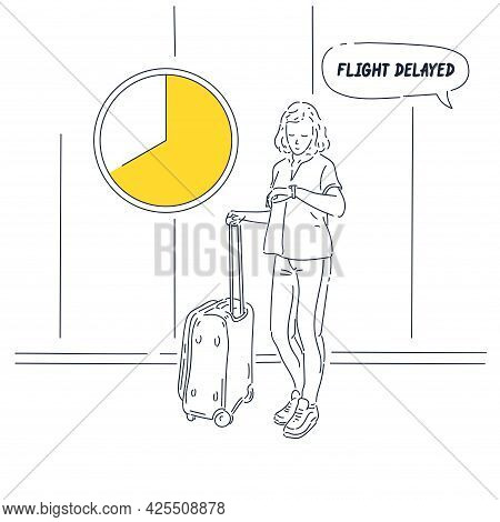 The Girl With The Suitcase Stands And Looks At The Clock. A Woman Is Waiting To Board A Plane.
