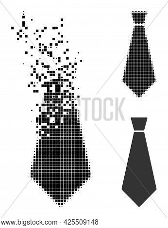 Disappearing Dotted Male Tie Icon With Halftone Version. Vector Wind Effect For Male Tie Icon. Pixel