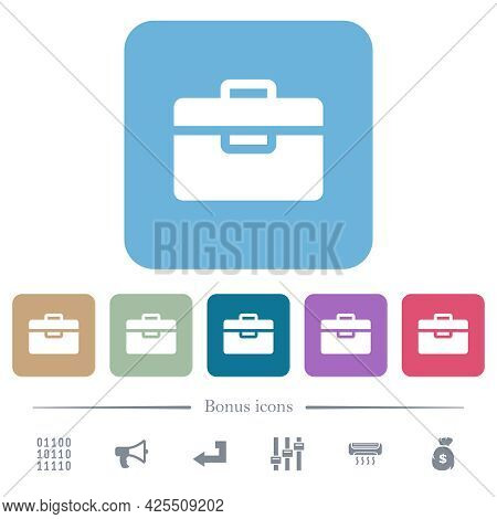 Toolbox White Flat Icons On Color Rounded Square Backgrounds. 6 Bonus Icons Included