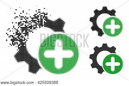 Broken Pixelated Add Settings Gear Icon With Halftone Version. Vector Destruction Effect For Add Set