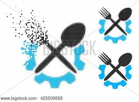 Broken Dot Food Industry Pictogram With Halftone Version. Vector Destruction Effect For Food Industr