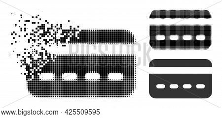 Dissolved Pixelated Credit Card Icon With Halftone Version. Vector Destruction Effect For Credit Car
