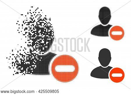 Fractured Dot Remove User Pictogram With Halftone Version. Vector Destruction Effect For Remove User