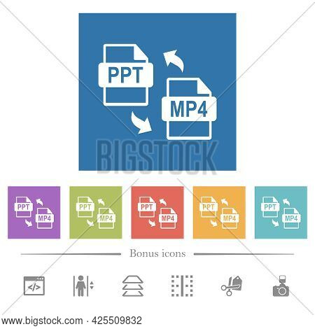 Ppt Mp4 File Conversion Flat White Icons In Square Backgrounds. 6 Bonus Icons Included.