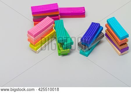 Multi-colored New Plasticine Of Bright Colors For Modeling And Modeling, Development Of Fine Motor S