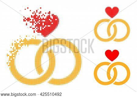 Dispersed Pixelated Romantic Rings Pictogram With Halftone Version. Vector Destruction Effect For Ro