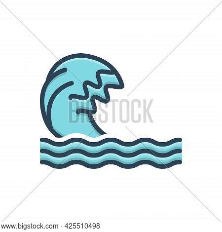 Color Illustration Icon For Wave Ripple Backwash Surf Flood