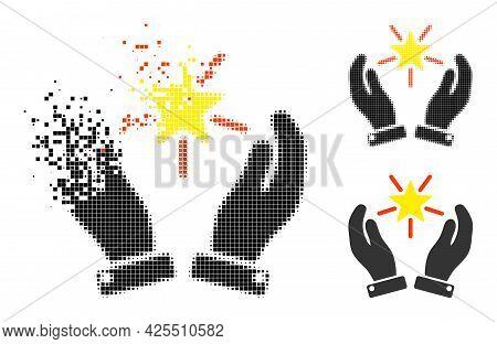 Broken Pixelated Shine Star Care Hands Pictogram With Halftone Version. Vector Destruction Effect Fo
