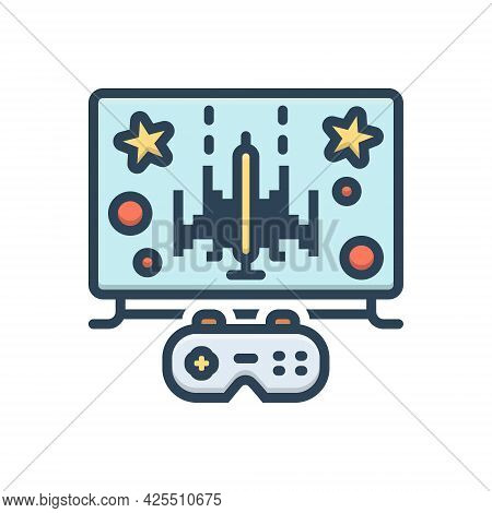 Color Illustration Icon For Gaming Gamble Video Technology Multimedia Controller