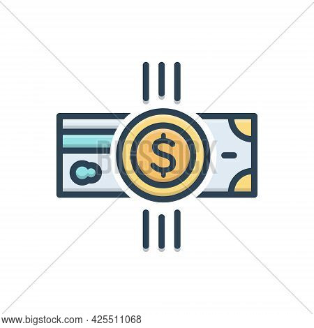 Color Illustration Icon For Payment Salary Pay Wage Emolument Money