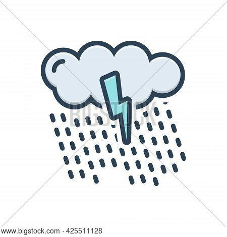 Color Illustration Icon For Rain Drop Raindrop Rainfall Cloud Waterfall Weather