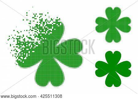 Dispersed Dot Four Leaf Clover Pictogram With Halftone Version. Vector Destruction Effect For Four L