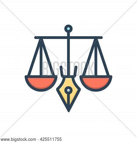 Color Illustration Icon For Legitimacy Legality Justice Balance Judgment Punishment