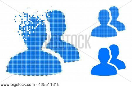 Dissipated Dotted Users Icon With Halftone Version. Vector Destruction Effect For Users Pictogram. P