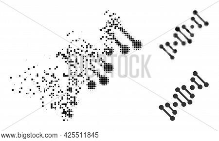 Dissolved Pixelated Genome Code Glyph With Halftone Version. Vector Wind Effect For Genome Code Icon