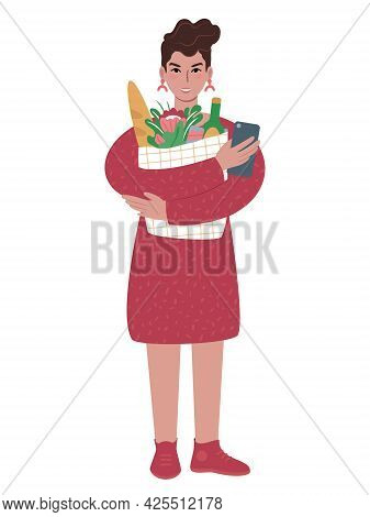 Young Caucasian Woman Holding A Bag Full Of Groceries And Smartphone. Using Phone While Shopping. Fl