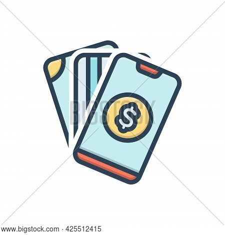 Color Illustration Icon For Payment Salary Pay Wage Emolument Pay-packet Hand Mobile