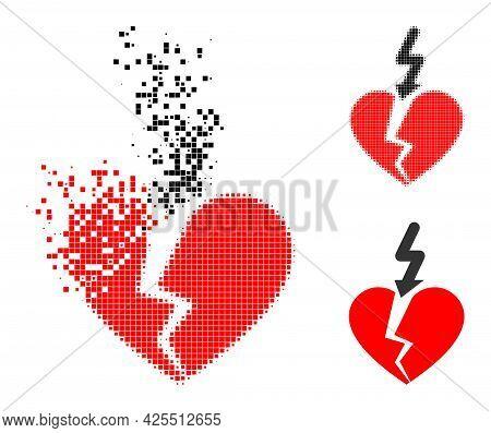 Dispersed Dot Break Love Heart Pictogram With Halftone Version. Vector Destruction Effect For Break