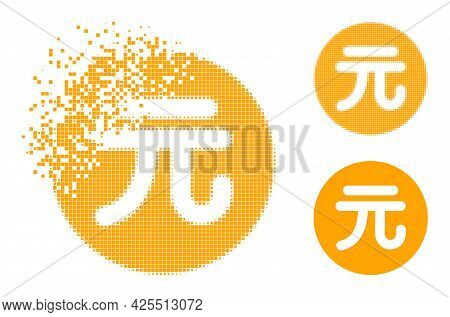 Broken Pixelated Chinese Yuan Coin Icon With Halftone Version. Vector Wind Effect For Chinese Yuan C