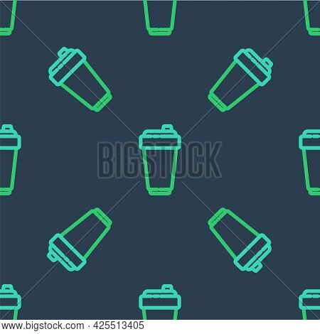 Line Fitness Shaker Icon Isolated Seamless Pattern On Blue Background. Sports Shaker Bottle With Lid