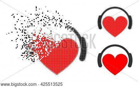 Shredded Pixelated Love Heart Headphones Pictogram With Halftone Version. Vector Destruction Effect