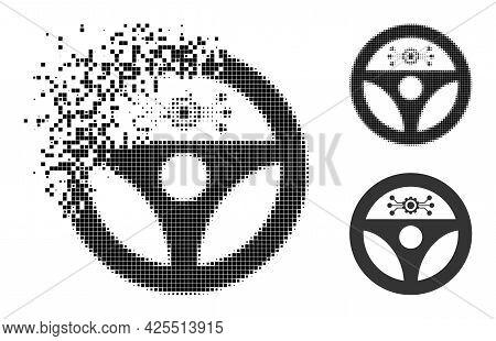 Disappearing Dot Autopilot Pictogram With Halftone Version. Vector Destruction Effect For Autopilot