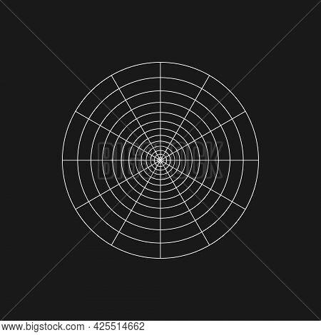 Digital Retro Cyber Polar Grid Design Element. Retrofuturistic Shape. Radial Shape In Cyberpunk 80s