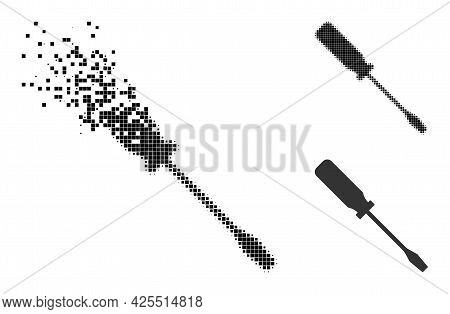 Dissolving Pixelated Screwdriver Icon With Halftone Version. Vector Destruction Effect For Screwdriv