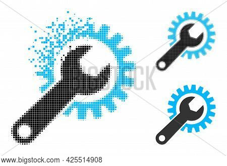 Shredded Pixelated Repair Gear Pictogram With Halftone Version. Vector Wind Effect For Repair Gear P