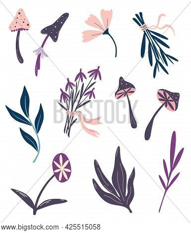 Magic Plants. Witchcraft Things. Set Of Magic Mushrooms Flowers And Herbs. Ingredients For Magical P
