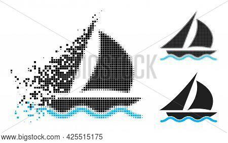 Moving Dot Sailing Pictogram With Halftone Version. Vector Destruction Effect For Sailing Symbol. Pi